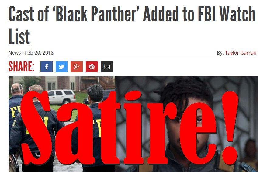 Fake News: Cast of Black Panther NOT Added to FBI Watch List