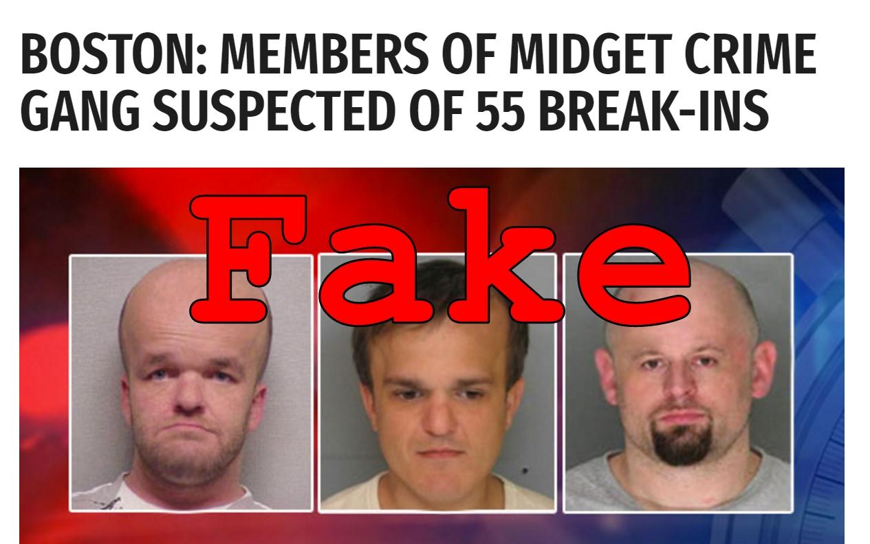 Fake News: NO Midget Crime Gang in Boston Suspected of 55 Break-Ins