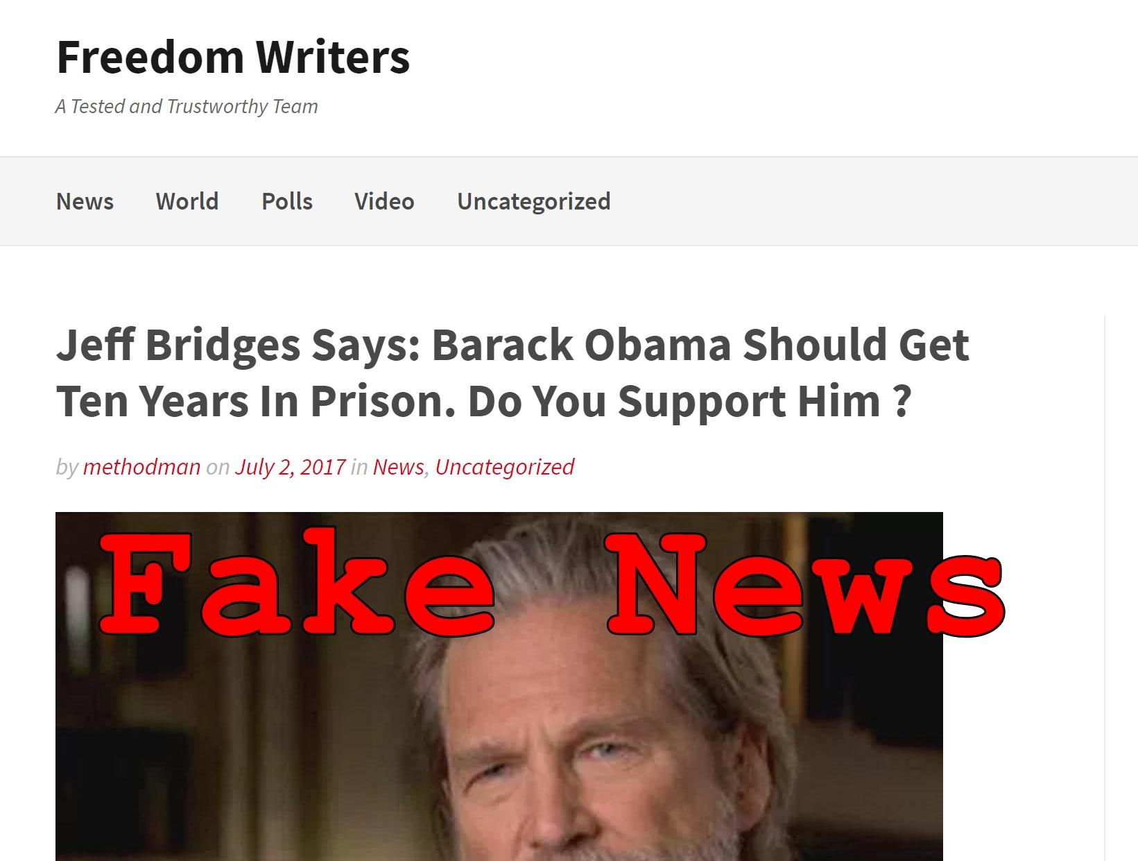 Fake News: Obama Should NOT Get Ten Years In Prison According To Jeff Bridges, Nicole Kidman or Clint Eastwood