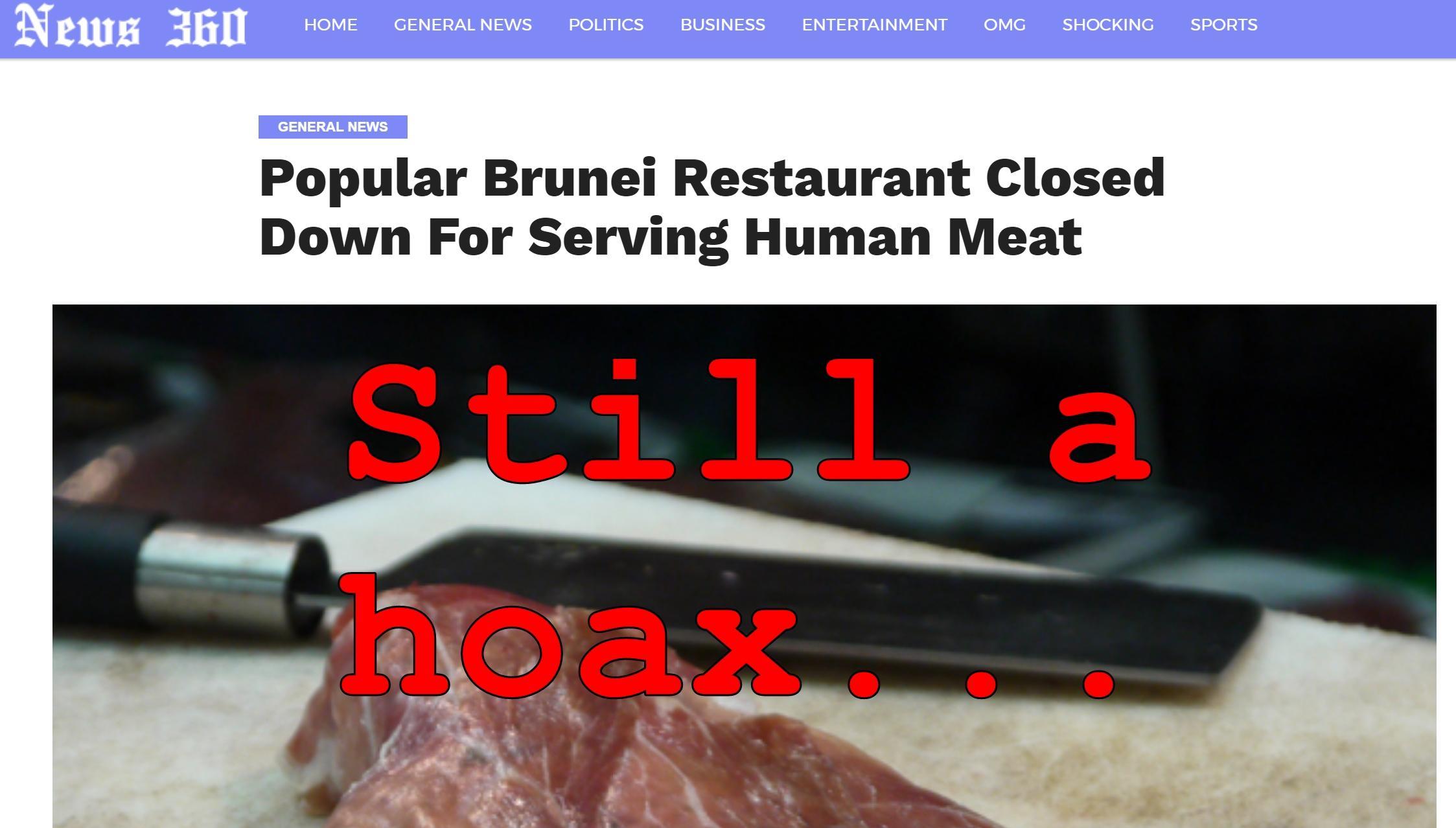 Fake News: Popular Brunei Restaurant NOT Shut Down For Serving Human Flesh