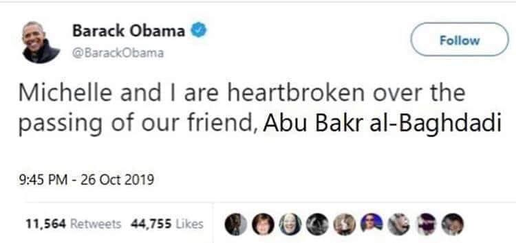 Fake News: Obama Did NOT Tweet Al Baghdadi Was A Great Man, An Innocent Man & My Friend