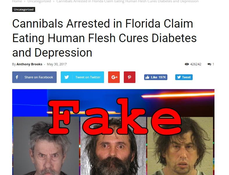 Fake News: Cannibals NOT Arrested in Florida, Did NOT Claim Eating Human Flesh Cures Diabetes and Depression