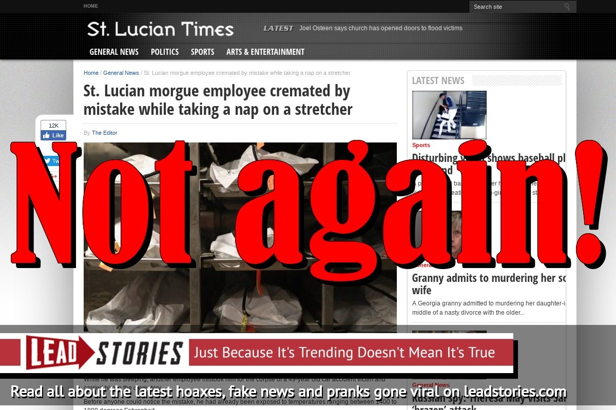 Screenshot of http://stluciantimes.com/st-lucian-morgue-employee-cremated-by-mistake-while-taking-a-nap-on-a-stretcher/