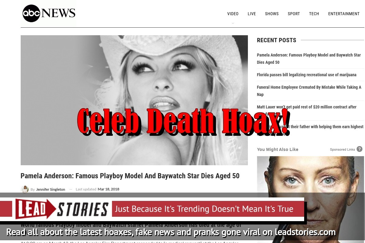 Screenshot of http://www.abcnews-us.com/2018/03/15/pamela-anderson-famous-playboy-model-and-baywatch-star-dies-aged-50/