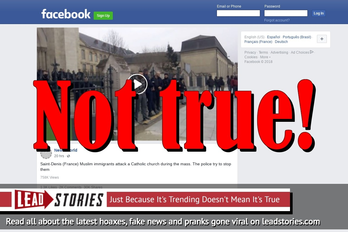 Fake News: Muslim Immigrants Did NOT Attack a Catholic church During Mass In Saint-Denis, France