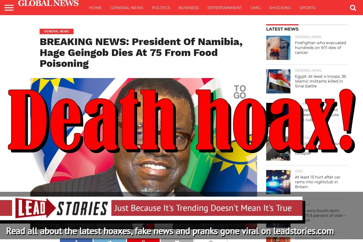 Fake News: President Of Namibia Hage Geingob Did NOT Die At 75 From Food Poisoning