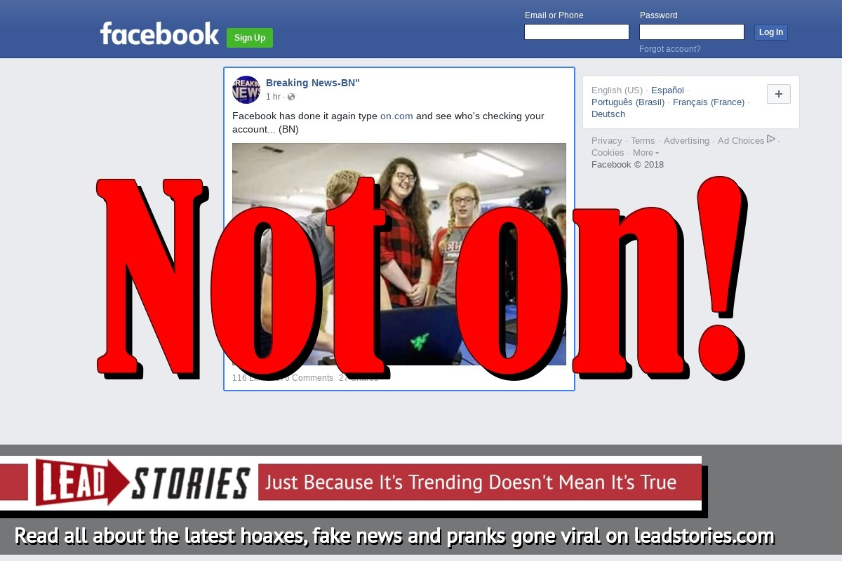 "Fake News: Typing ""on.com"" Will NOT Show You Who Is Checking Your Facebook Account"