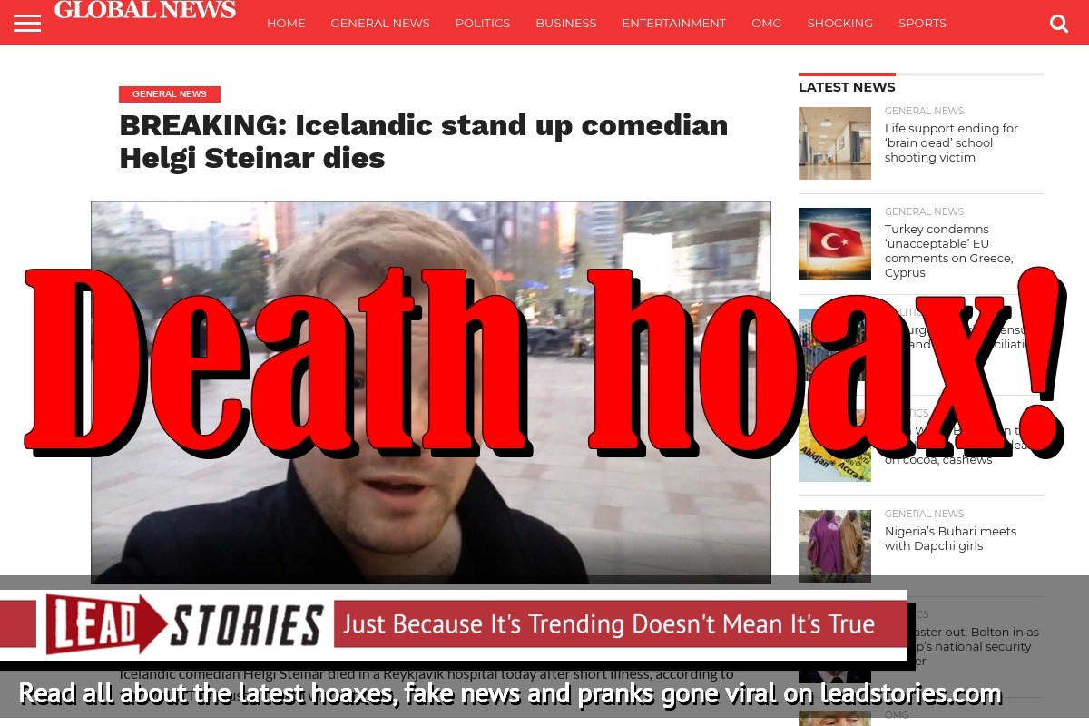 Fake News: Icelandic Stand Up Comedian Helgi Steinar NOT Dead