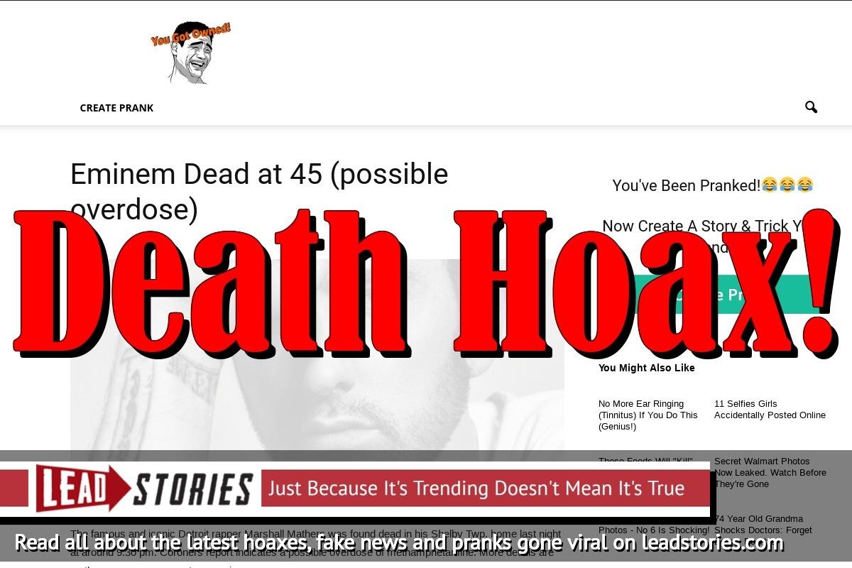 Fake News: Eminem NOT Dead at 45, NO Overdose