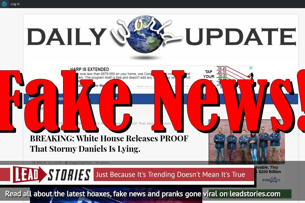 Fake News: White House Did NOT Release Proof That Stormy Daniels Is Lying