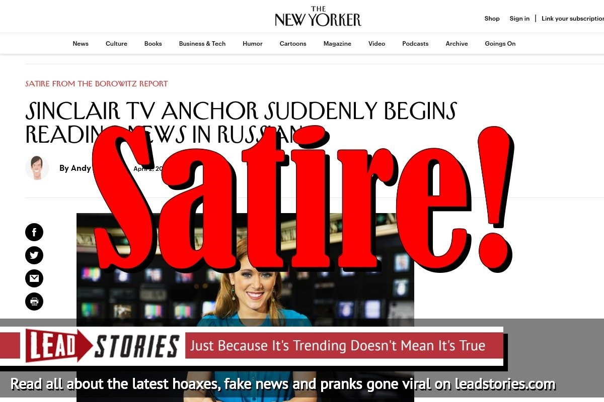 Fake News: Sinclair TV Anchor Did NOT Suddenly Begin Reading News in Russian
