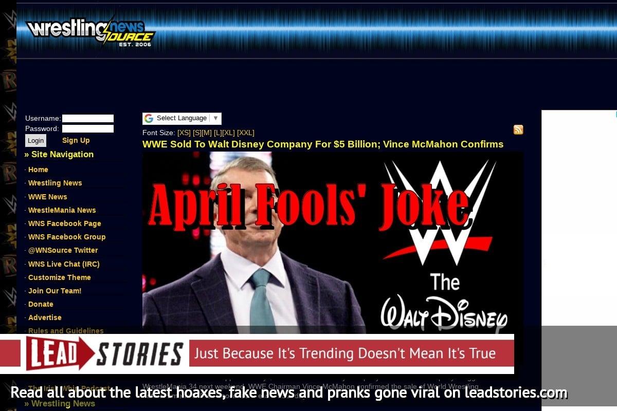 Screenshot of https://www.wrestlingnewssource.com/news/51458/WWE-Sold-To-Walt-Disney-Company-For-5-Billion/