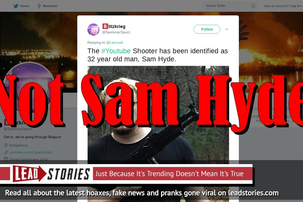 Fake News: Sam Hyde NOT The Active Shooter At YouTube Headquarters