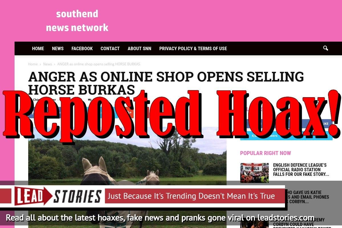 Screenshot of http://www.southendnewsnetwork.net/news/anger-as-online-shop-opens-selling-horse-burkas/