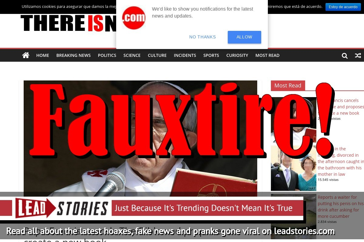 Screenshot of http://thereisnews.com/pope-francis-cancels-bible/