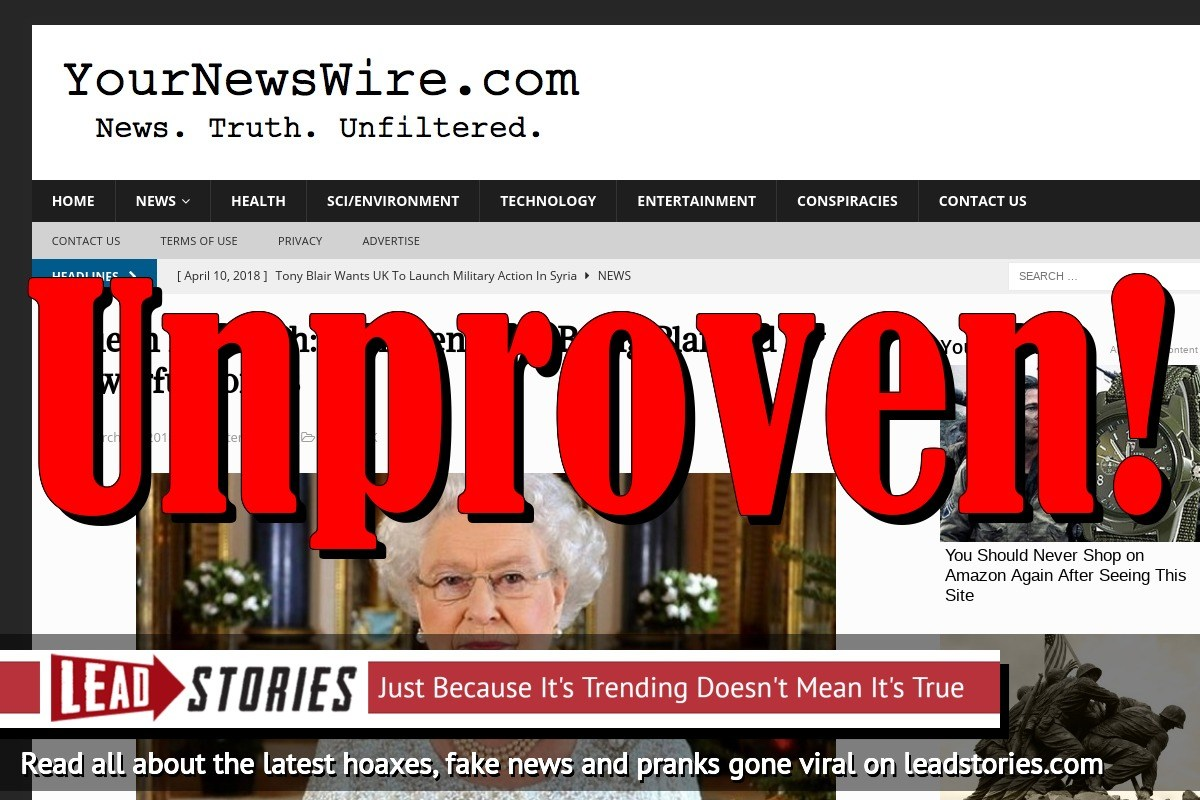 Fake News: Queen Elizabeth Did NOT Say Imminent War Being Planned By Powerful Forces