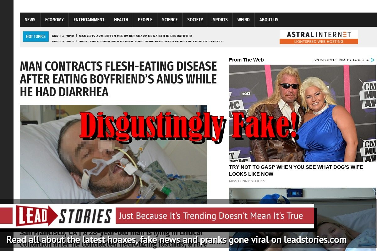 Screenshot of http://worldnewsdailyreport.com/man-contracts-flesh-eating-disease-after-eating-boyfriends-anus-while-he-had-diarrhea/