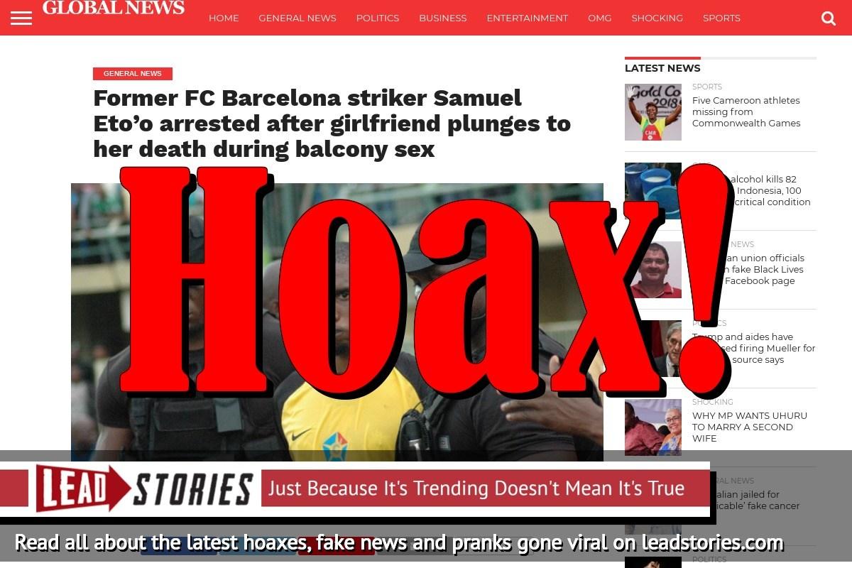 Screenshot of http://glonews360.com/former-fc-barcelona-striker-samuel-etoo-arrested-after-girlfriend-plunges-to-her-death-during-balcony-sex/