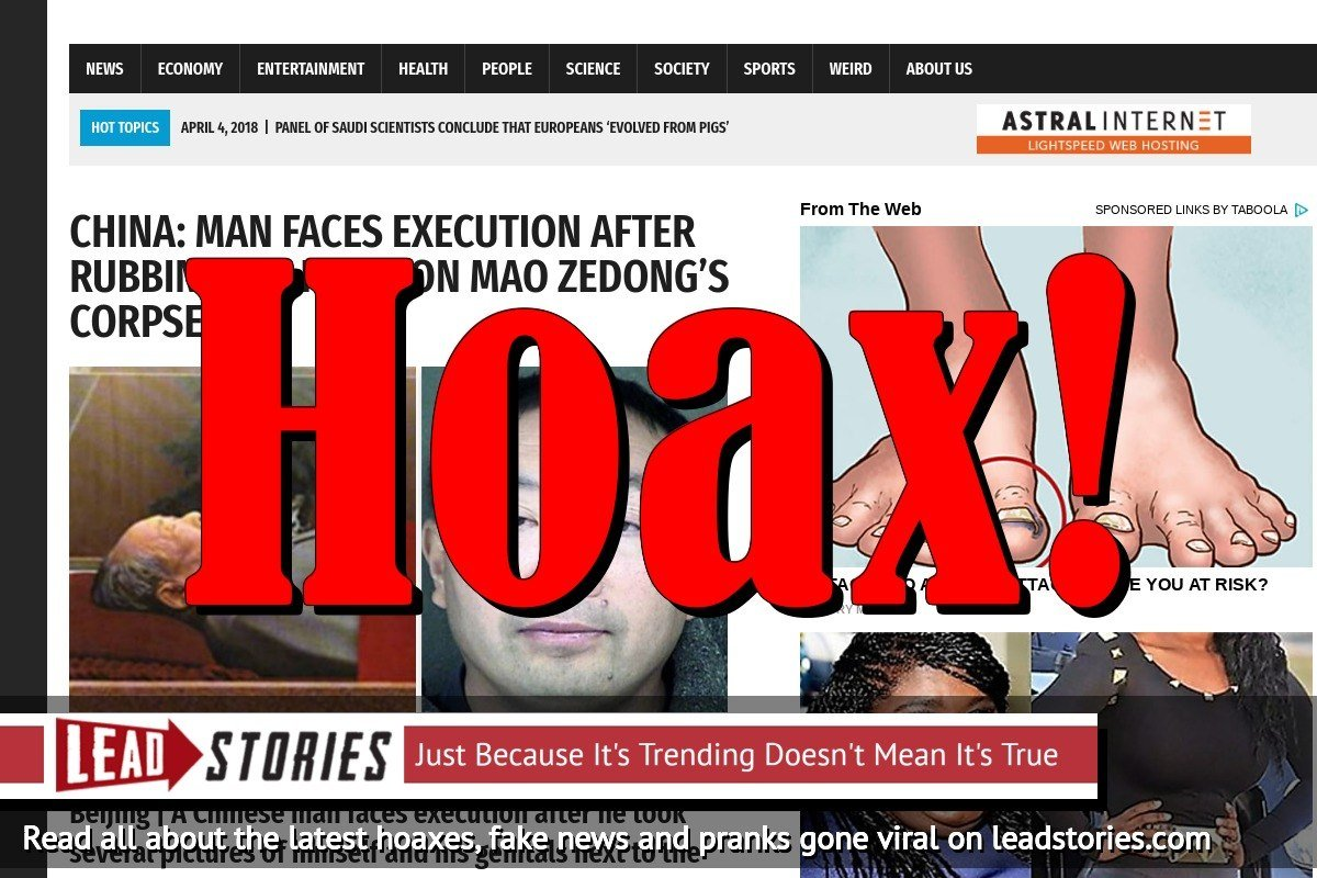 Screenshot of http://worldnewsdailyreport.com/china-man-faces-execution-after-rubbing-his-penis-on-mao-zedongs-corpse/
