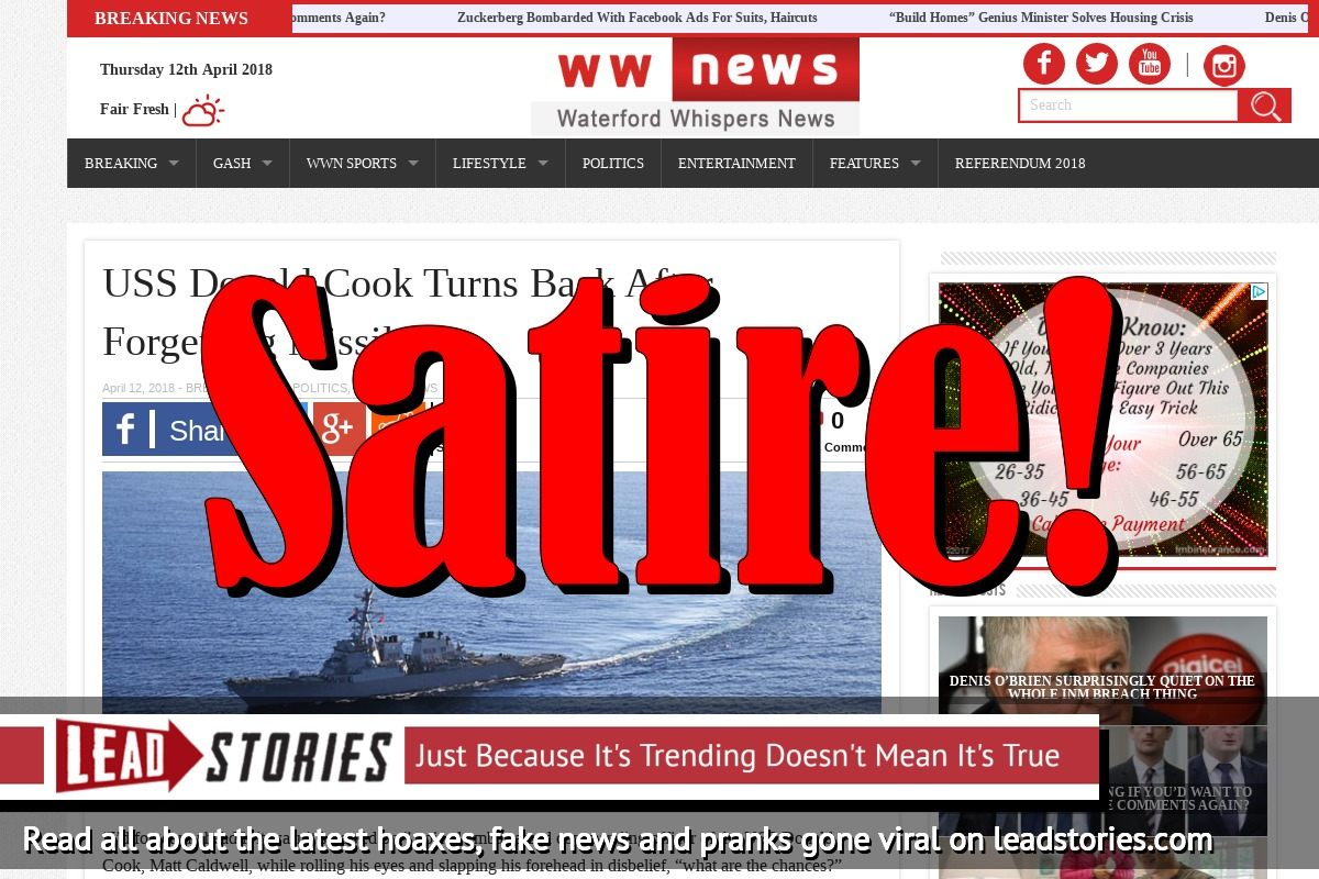 Screenshot of http://waterfordwhispersnews.com/2018/04/12/uss-donald-cook-turns-back-after-forgetting-missiles/