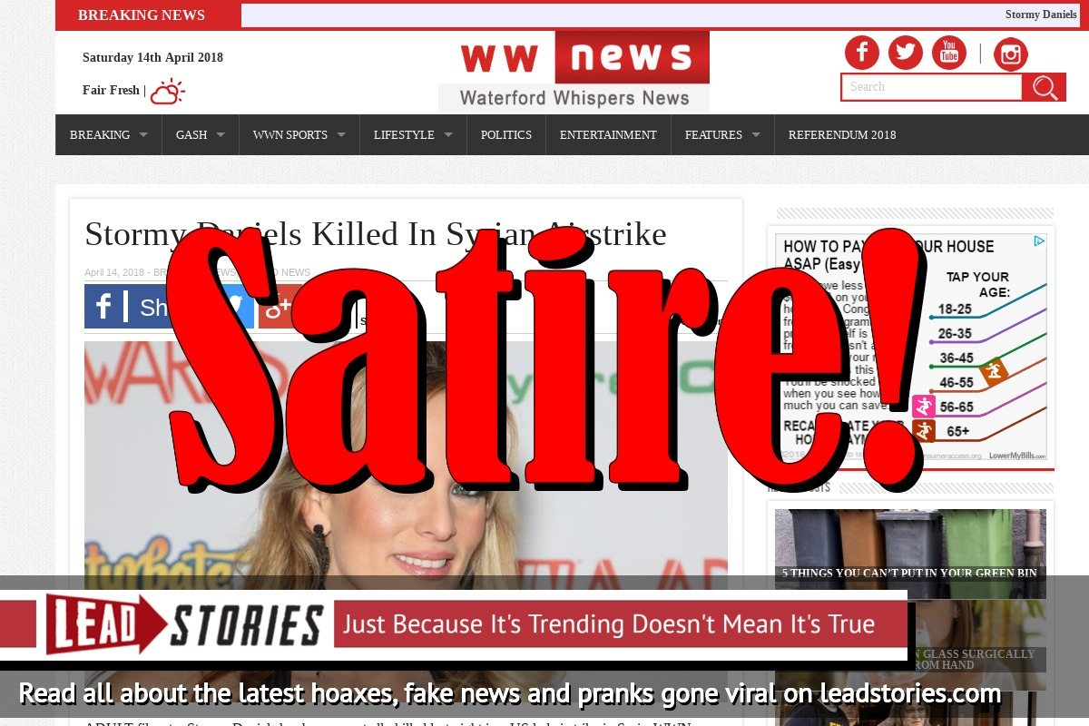 Screenshot of http://waterfordwhispersnews.com/2018/04/14/stormy-daniels-killed-in-syrian-airstrike/