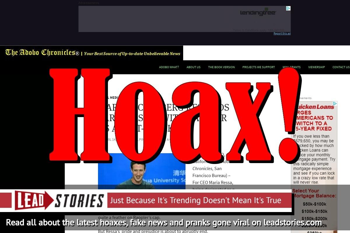 Screenshot of https://adobochronicles.com/2018/04/14/mark-zuckerberg-rescinds-partnership-with-rappler-as-a-fact-checker/