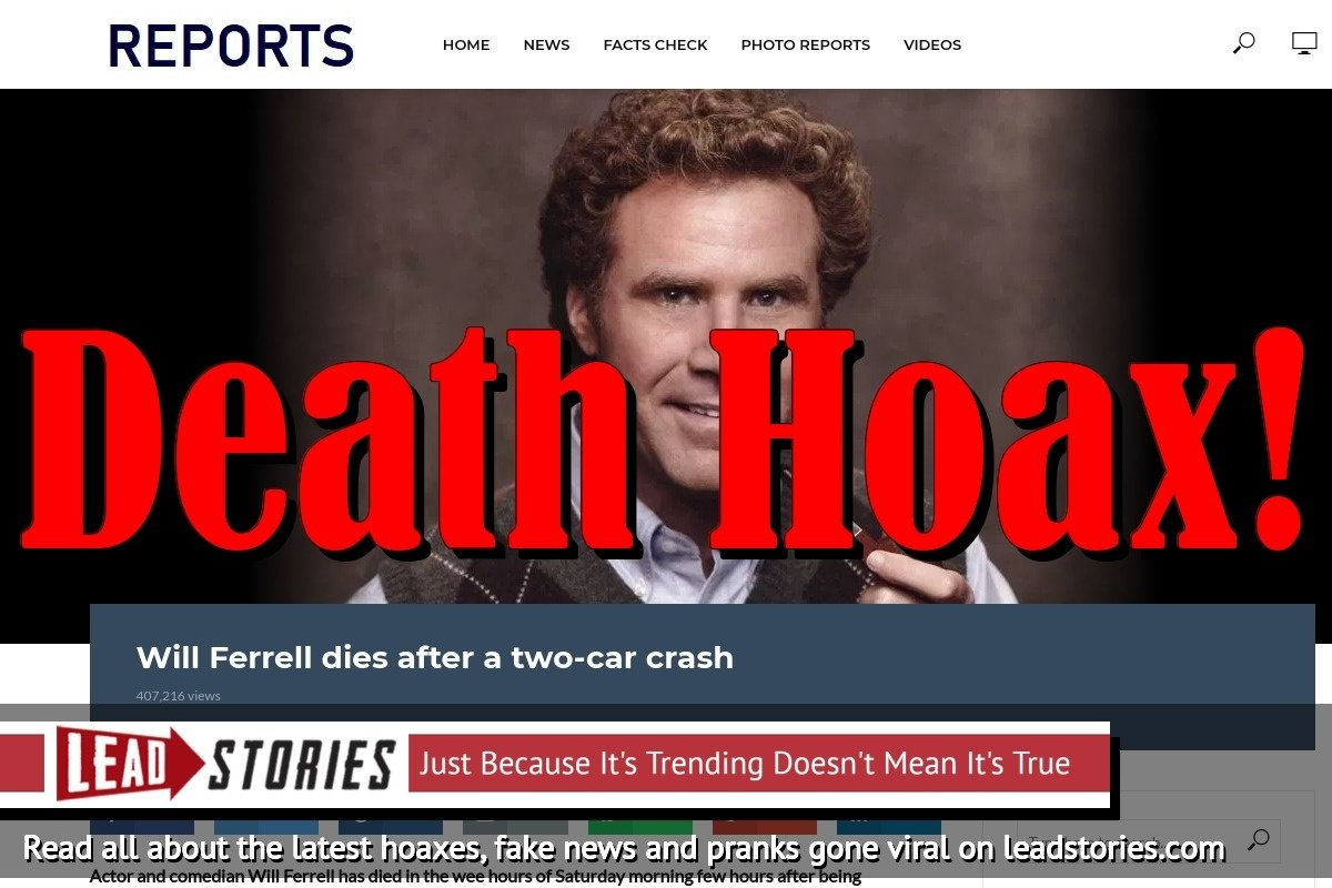 Fake News: Will Ferrell Did NOT Die After A Two Car Crash