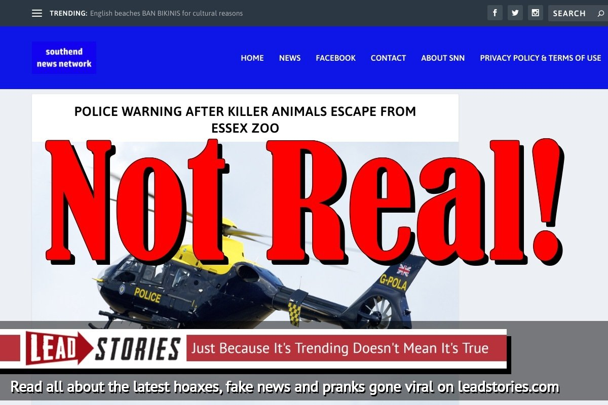 Screenshot of http://www.southendnewsnetwork.net/news/police-warning-after-killer-animals-escape-from-essex-zoo/