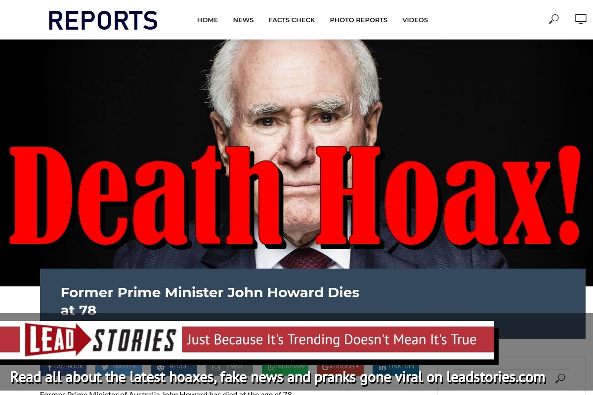 Fake News: Former Prime Minister John Howard Did NOT Die at 78