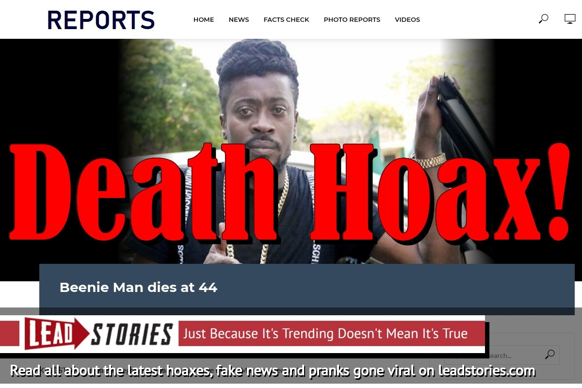 Fake News: Beenie Man Did NOT Die at 44