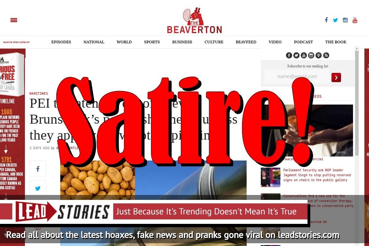 Screenshot of https://www.thebeaverton.com/2018/04/pei-threatens-cut-off-new-brunswicks-potato-shipments-unless-approve-new-potato-pipeline/