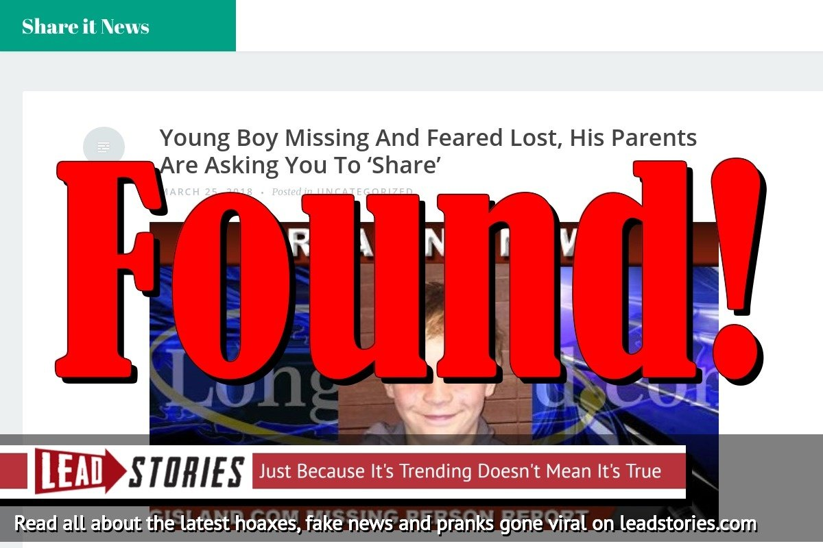 Fake News: Young Boy NO LONGER Missing And Feared Lost, His Parents Are NOT Asking You To 'Share'