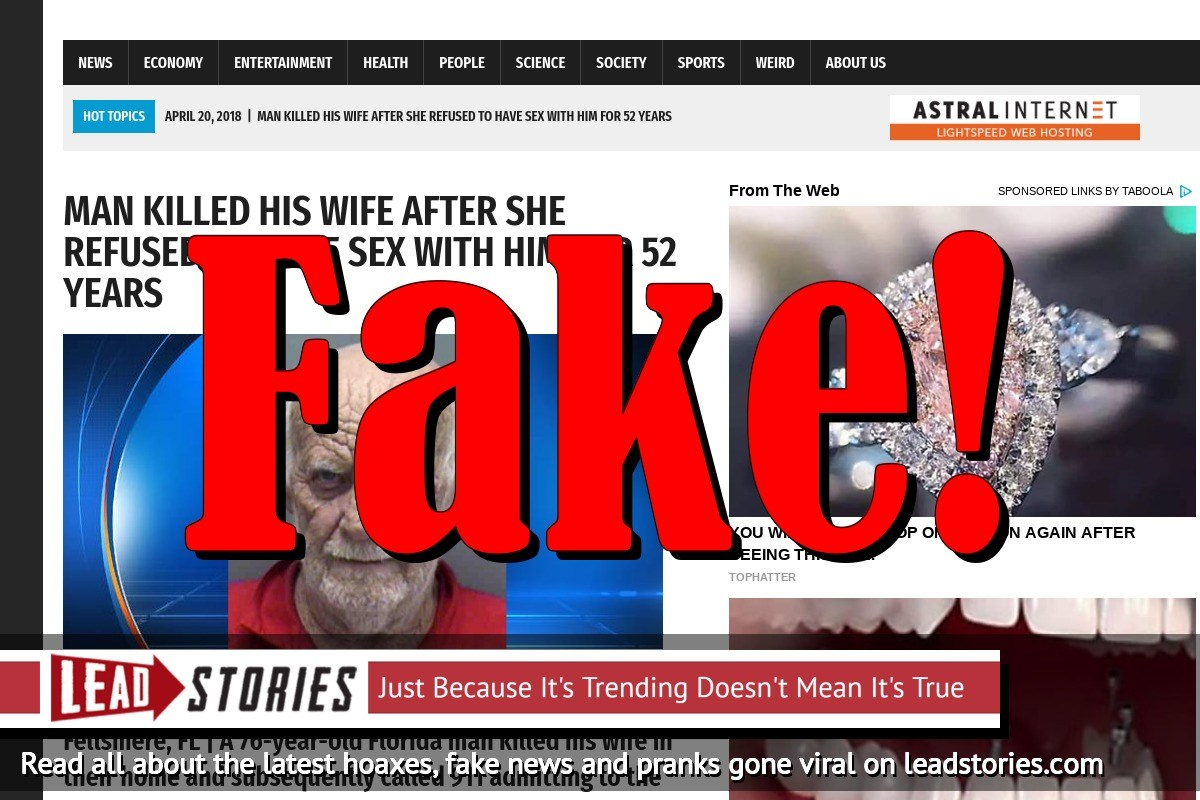 Fake News: Man Did NOT Kill His Wife After She Refused To Have Sex With Him For 52 Years