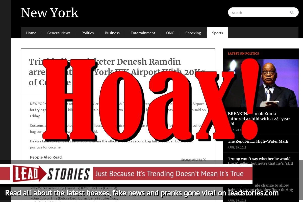 Screenshot of http://nytimes-news.com/trinidadian-cricketer-denesh-ramdin-arrested-at-new-york-jfk-airport-with-20kg-of-cocaine/