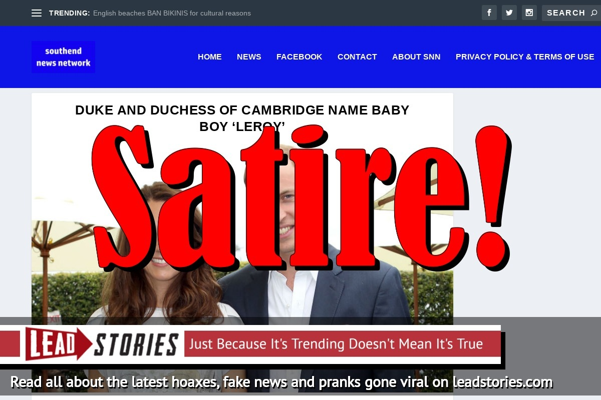 Fake News: Duke and Duchess of Cambridge Did NOT Name Baby Boy 'Leroy'