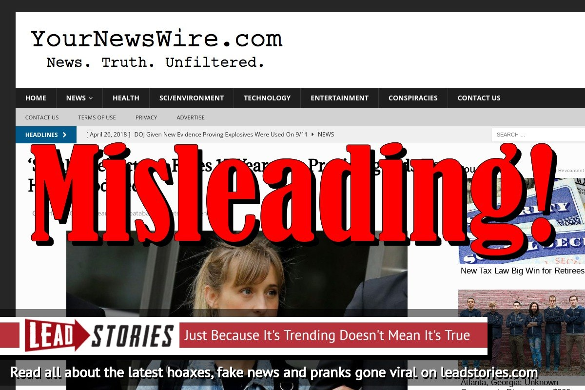 Fake News: 'Smallville' Actress Faces 15 Years But NOT For Providing Kids To Hollywood Pedos