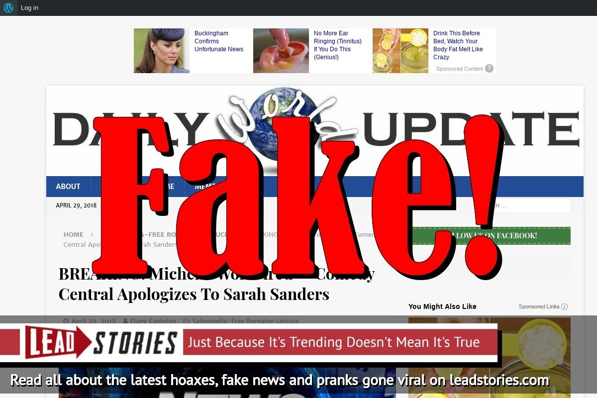 Screenshot of https://dailyworldupdate.us/2018/04/29/breaking-michelle-wolf-fired-comedy-central-apologizes-to-sarah-sanders/