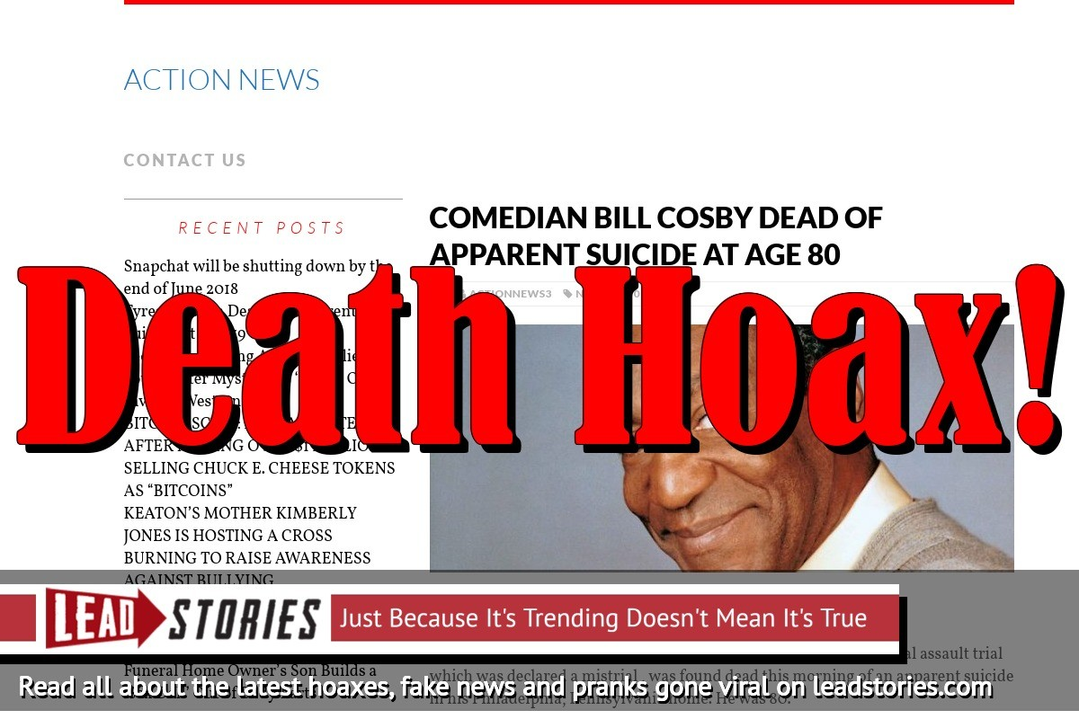 Screenshot of http://actionnews3.com/bill-cosby-dead-apparent-suicide-age-80/