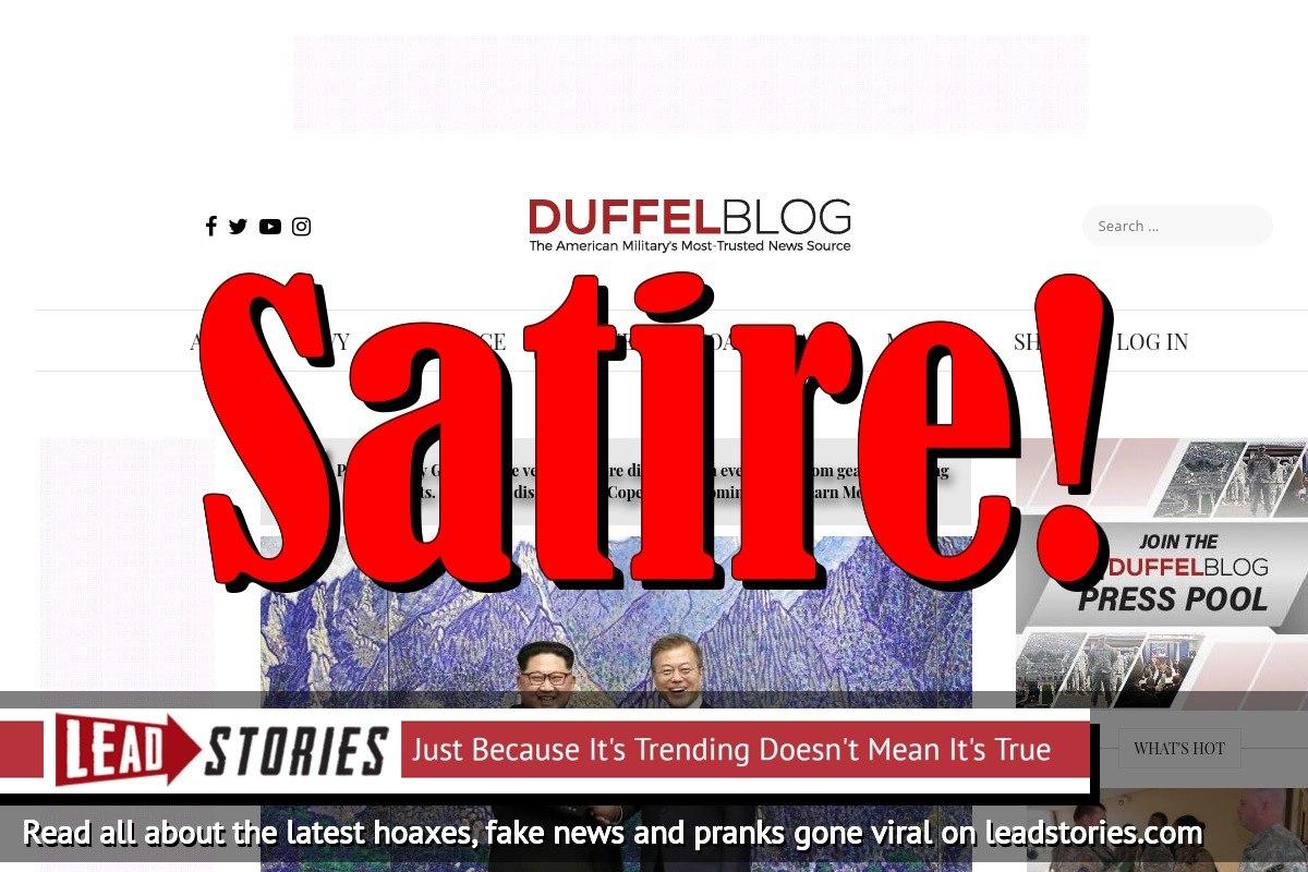 Screenshot of https://www.duffelblog.com/2018/04/kim-jong-un-defects-south-korea/