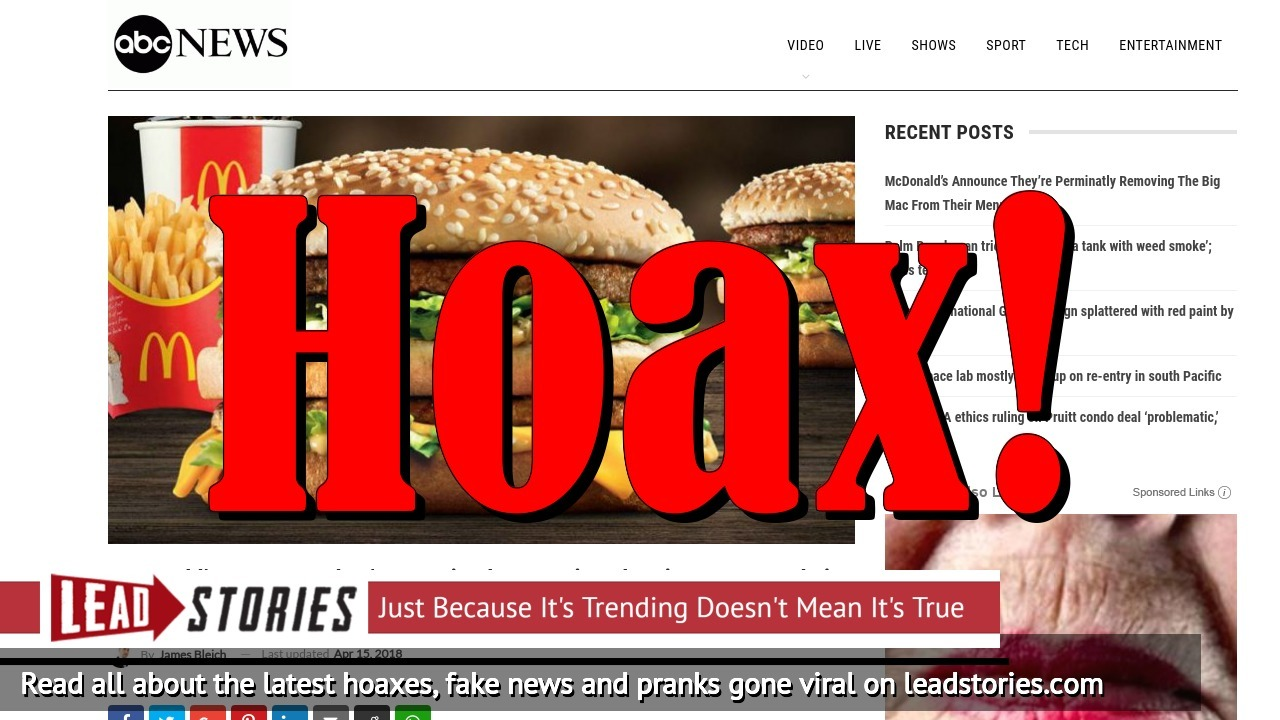 Screenshot of http://www.abcnews-us.com/2018/04/15/mcdonalds-announce-theyre-perminatly-removing-the-big-mac-from-their-menu/