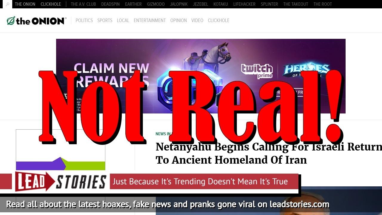 Screenshot of https://www.theonion.com/netanyahu-begins-calling-for-israeli-return-to-ancient-1825925581
