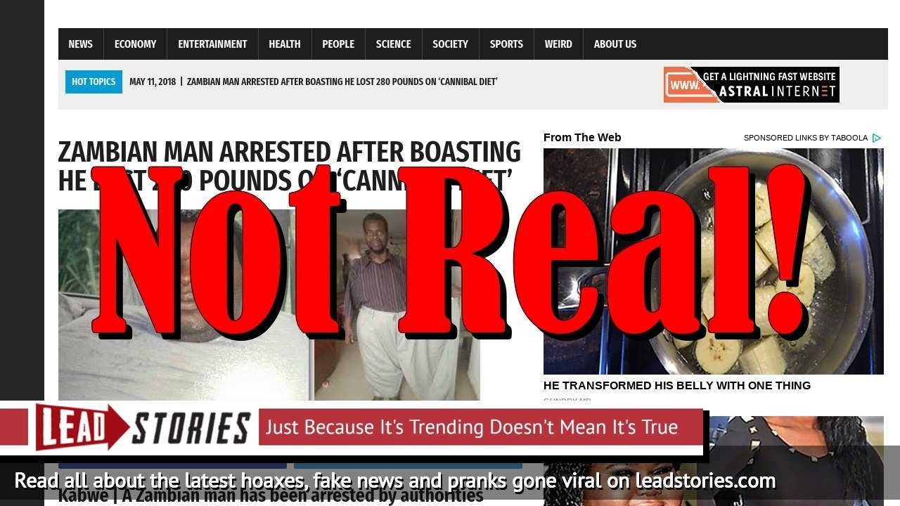 Screenshot of https://worldnewsdailyreport.com/zambian-man-arrested-after-boasting-he-lost-280-pounds-on-cannibal-diet/