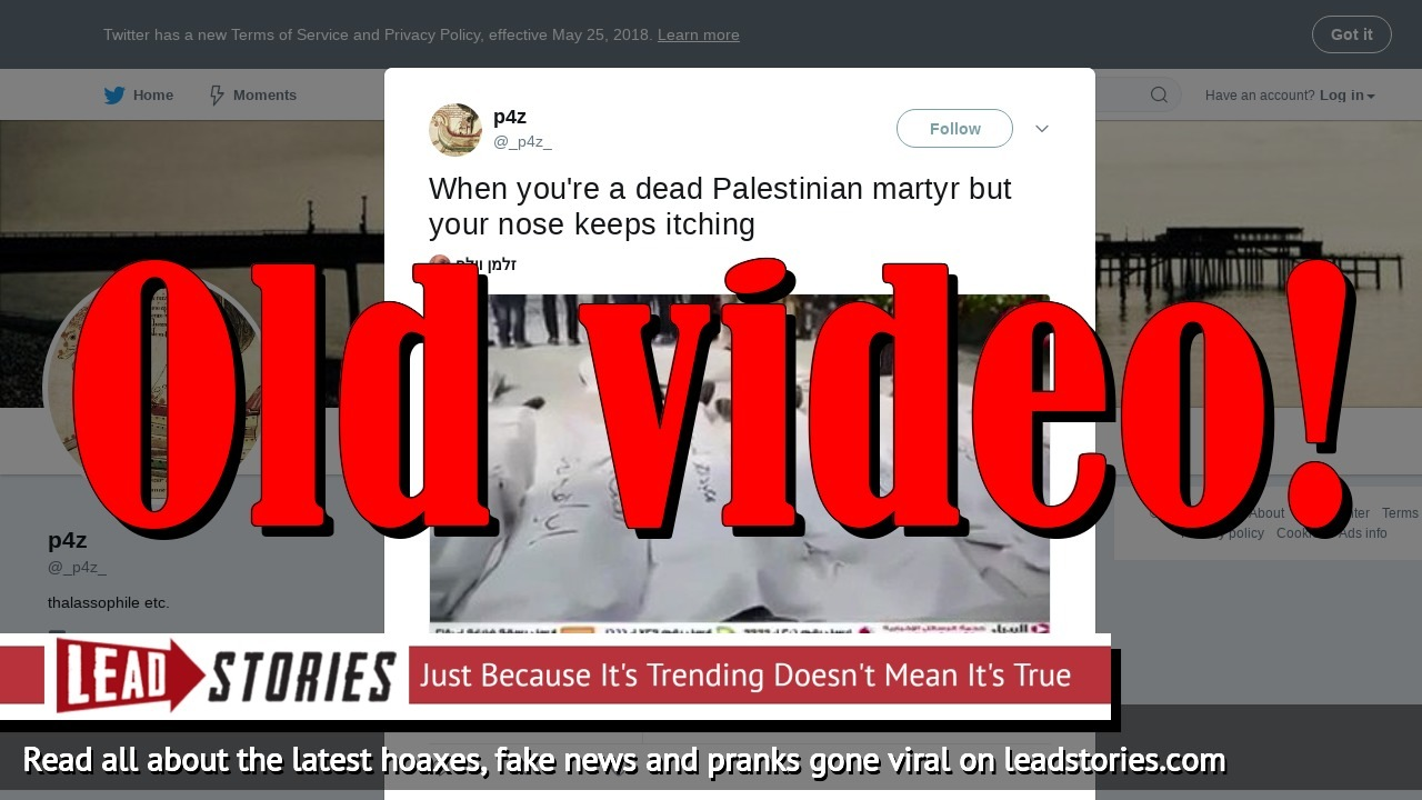 Fake News: Video Does NOT Show Palestinian Martyr Scratching His Nose Under His Shroud