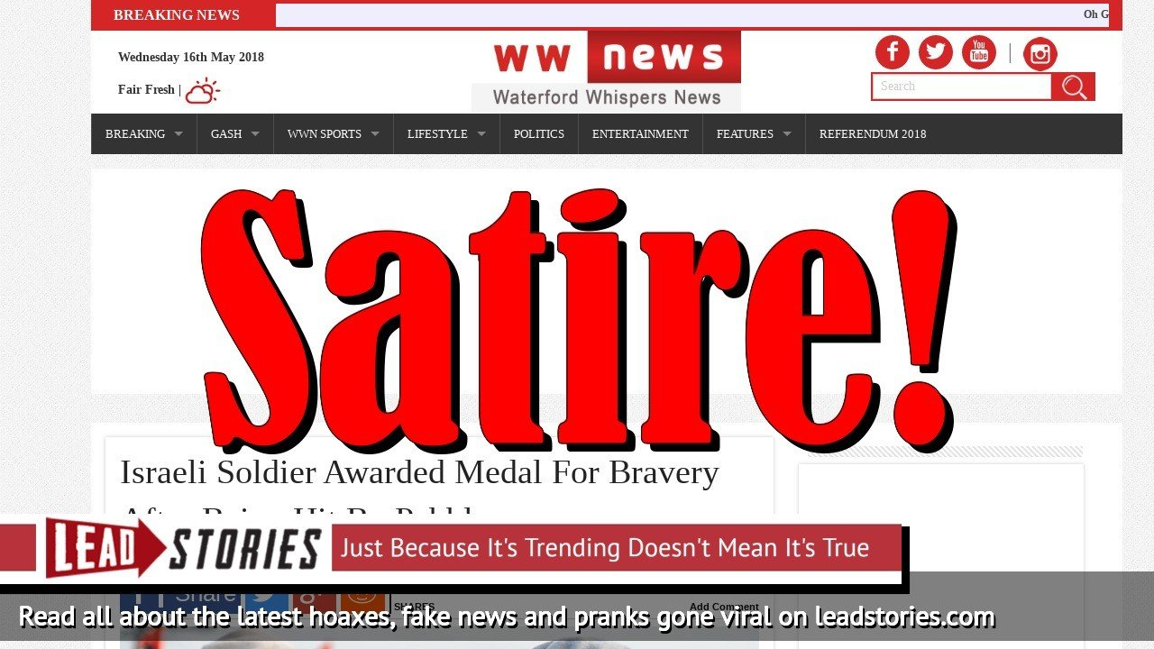 Screenshot of http://waterfordwhispersnews.com/2018/05/16/israeli-soldier-awarded-medal-for-bravery-after-being-hit-by-pebble/