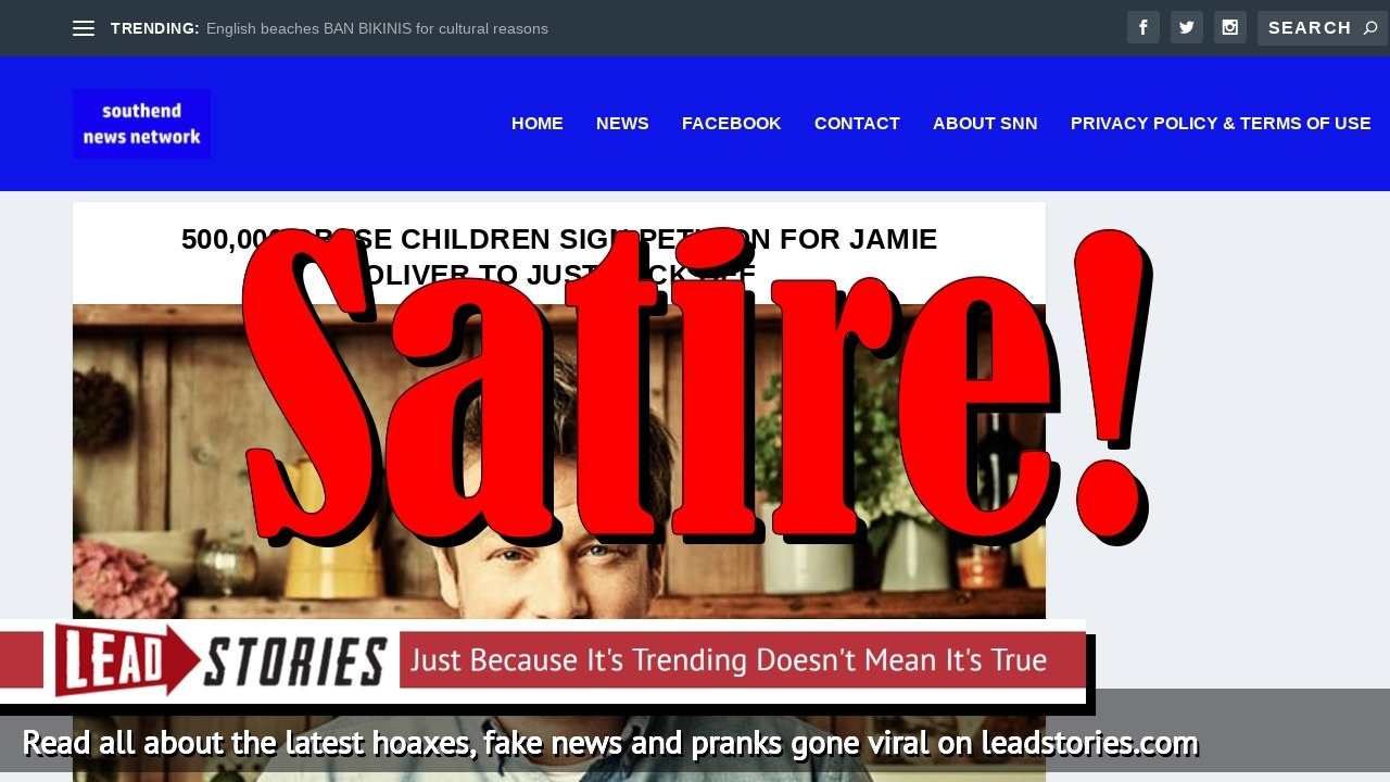 Fake News: 500,000 Obese Children Did NOT Sign Petition For Jamie Oliver To Just F*ck Off