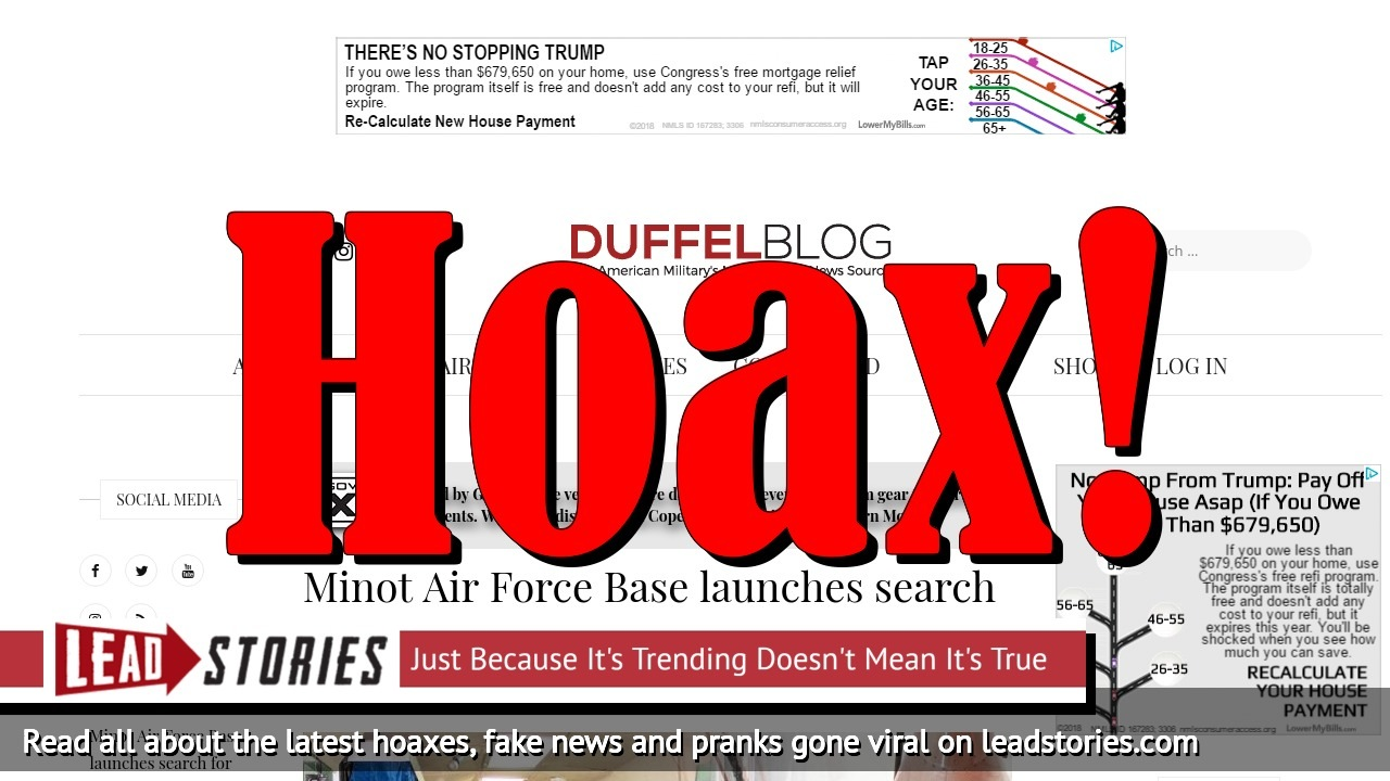 Screenshot of https://www.duffelblog.com/2018/05/minot-air-force-base-launches-search-for-missing-minuteman-nuclear-missile/