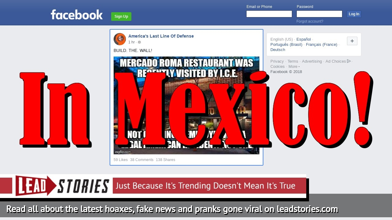 Fake News: Mercado Roma Restaurant NOT Visited By ICE