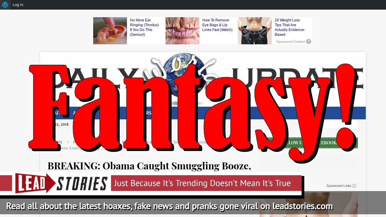Fake News: Obama NOT Caught Smuggling Booze, Drugs And Underage Girls Into Enemy Territory