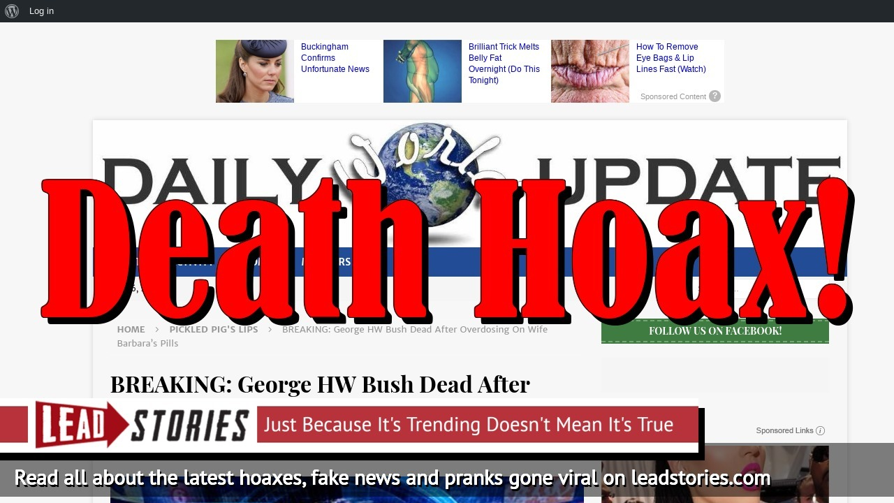 Fake News: George HW Bush NOT Dead After Overdosing On Wife Barbara's Pills