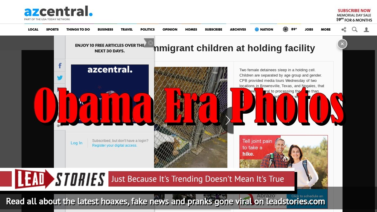 Screenshot of https://www.azcentral.com/picture-gallery/news/politics/immigration/2014/06/18/first-glimpse-of-immigrant-children-at-holding-facility/10808687/